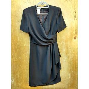 Vintage Leslie Fay black faux wrap evening dress